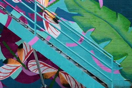 Urban landscape (stairway against a mural)