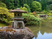 Stone lantern at Seattle Japanese Garden
