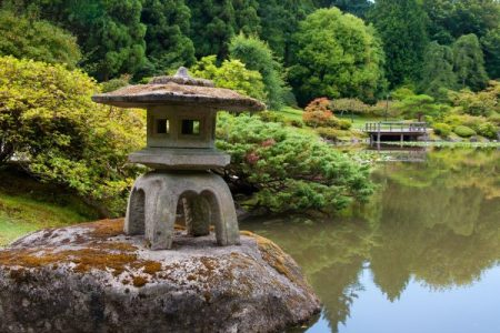 Stone lantern at Seattle Japanese Garden