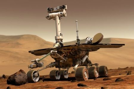 NASA Mars Exploration Rover on Mars - artist concept, 2003 image. NASA-JPL-Cornell University