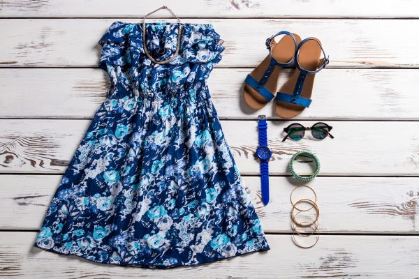 Summer outfit with sundress, sandals, and accessories