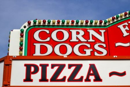 corn dogs & pizza sign