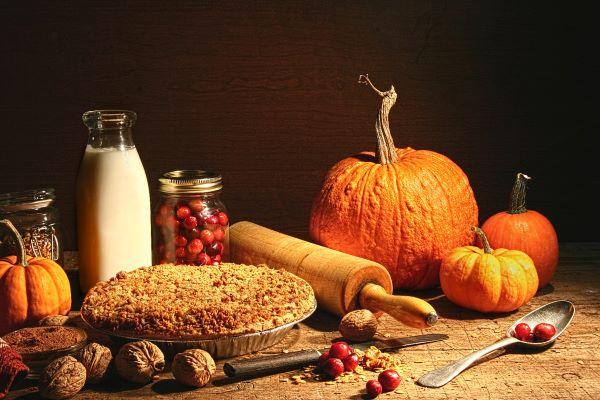 pumpkin, cranberries, and apple pie