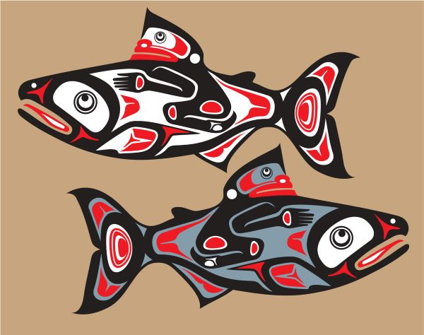 Native American art salmon
