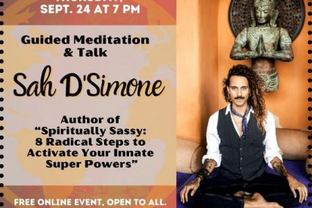 Banner for Guided Meditation Talk with Spiritually Sassy author Sah D'Simone