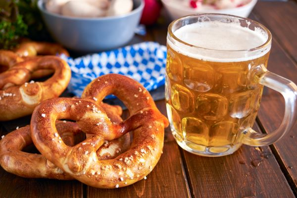 Stein of beer and pretzels