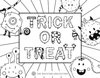 Bellevue Collection Halloween coloring sheet Trick-or-Treat