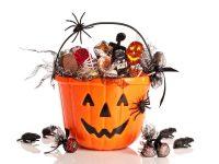 overflowing Halloween candy bucket