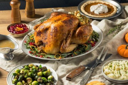 Holiday turkey dinner and side dishes