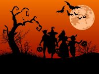 Trick or treaters on Halloween night