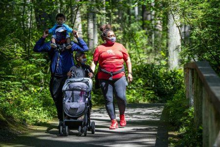 Family walking together at Northwest Trek