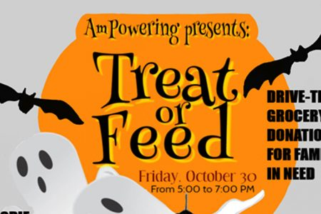 Banner for Treat or Feed drive-thru Oct 30