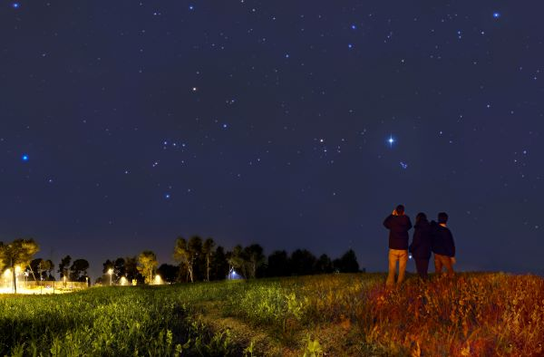 Stargazing with binoculars in a field