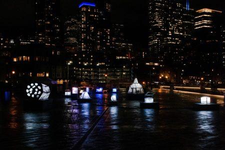 Seattle Waterfront Park light sculptures at Pier 62