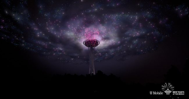 virtual Sky Mapping image of NYE 2020 in Seattle