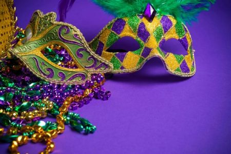 mardi gras masks and beads