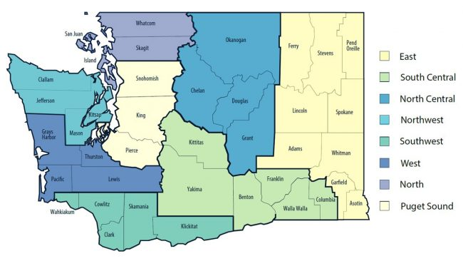 Washington State county regions for Roadmap to Recovery