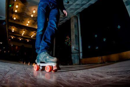 roller skating on an indoor rink