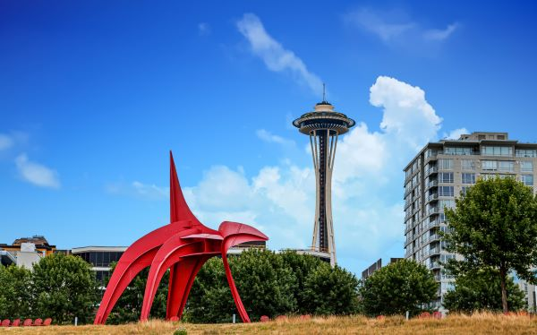 """Olympic Sculpture Park """"Eagle"""" and Space Needle in the background"""