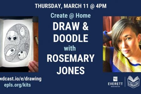 Banner for Draw and doodle with Rosemary Jones March 11 2021