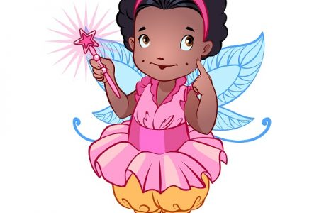 Little cute fairy in a pink dress with magic wand