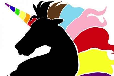Unicorn rainbow image for Black and Proud comedy show