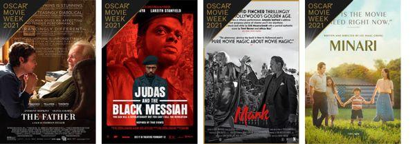 Cinemark Oscar Movie Week 2021 Best Picture posters 1-4