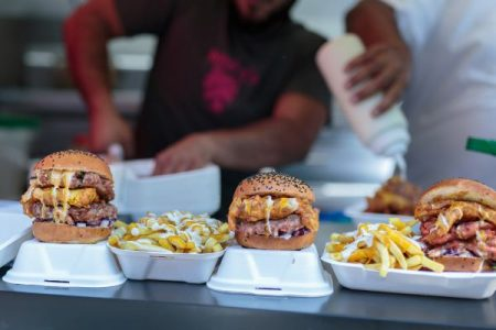 Food truck burgers and fries