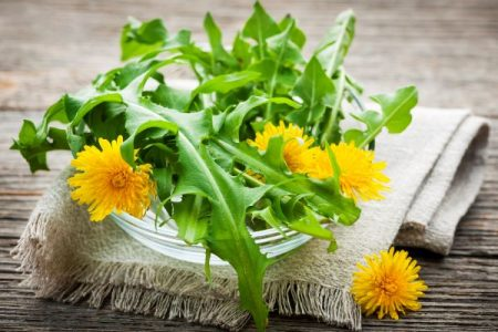 dandelion leaves and flowers in a bowl