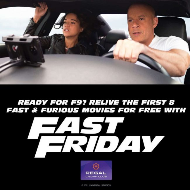 Banner for Regal Crown Club Fast Friday free movies