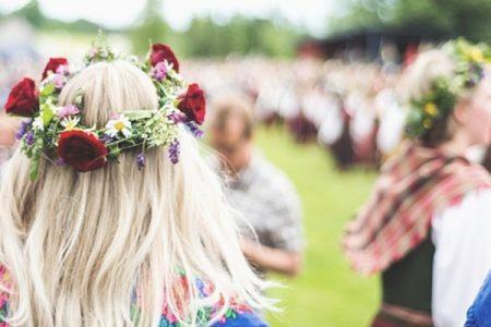 Vasa Park Midsommar festival revelers in flower crowns