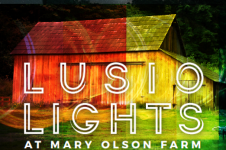 Banner for LUSIO lights at Mary Olson Farm in Kent