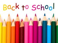 back to school banner with colored pencils