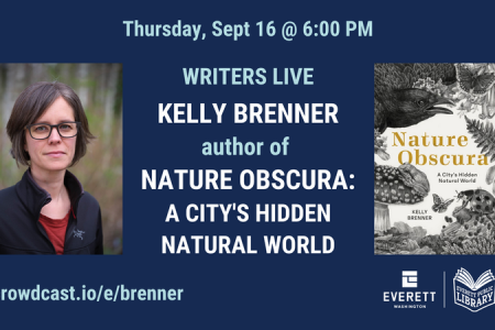 Banner for Writers Live Kelly Brenner, author of Nature Obscura Sept 16 2021