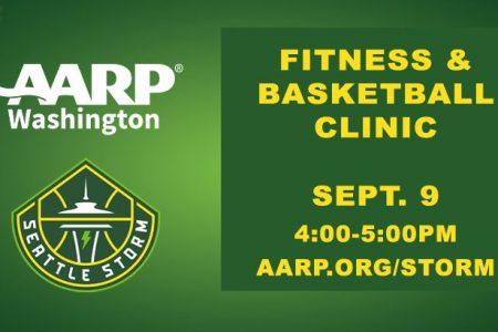 Banner for AARP Storm Basketball Fitness Clinic Sept 9, 2021